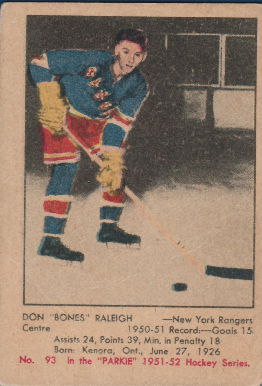 1951-52 Parkhurst #93 Don Raleigh RC