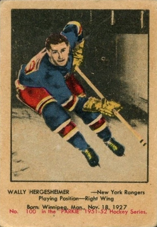 1951-52 Parkhurst #100 Wally Hergesheimer RC