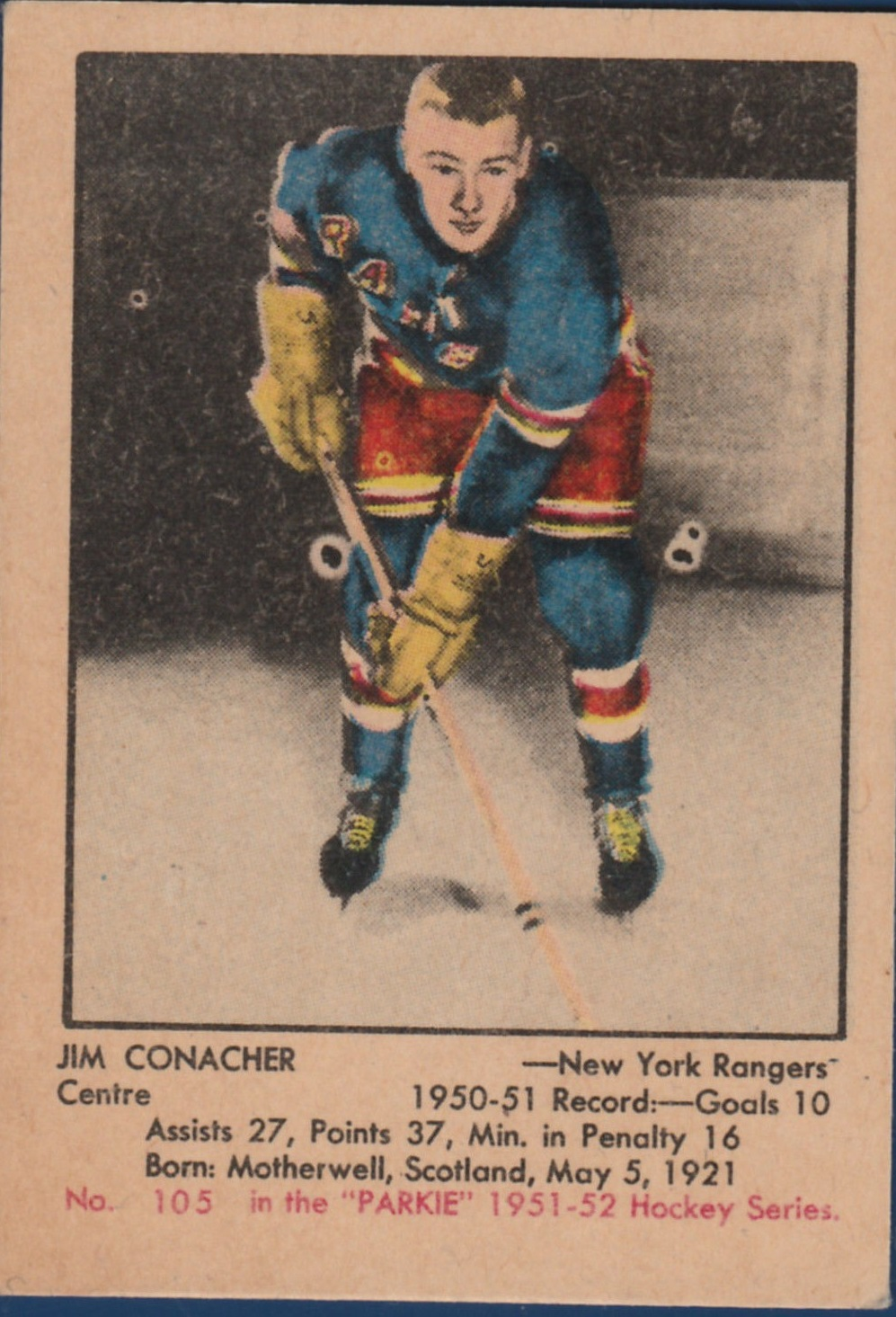 1951-52 Parkhurst #105 Jim Conacher RC