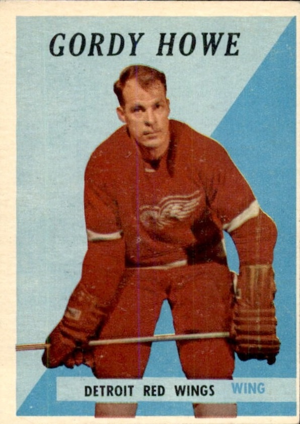 1958-59 Topps #8 Gordie Howe UER/Misspelled Gordy on card front
