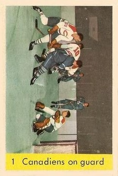 1959-60 Parkhurst #1 Canadiens On Guard/Jacques Plante/Tom Johnson/Phil Goyette
