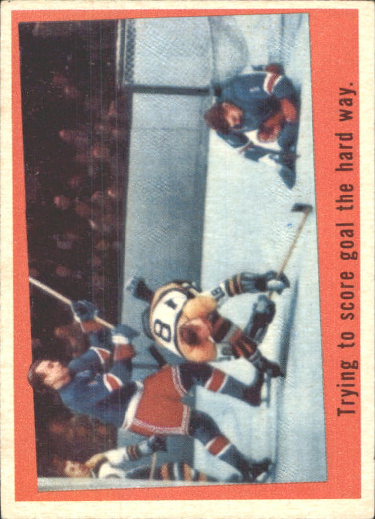 1959-60 Topps #54 Trying to Score/Norm Johnson/Gump Worsley/Harry Howell IA