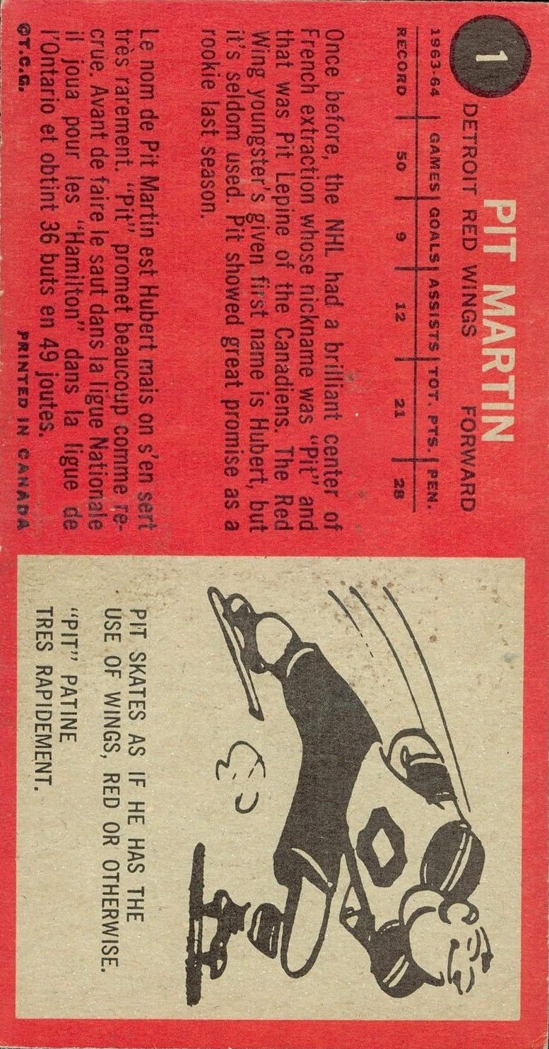 1964-65 Topps #1 Pit Martin RC