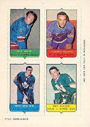 1969-70 O-Pee-Chee Four-in-One #15 Bob Nevin/Jacques Plante/Mike Walton/Ray Cullen