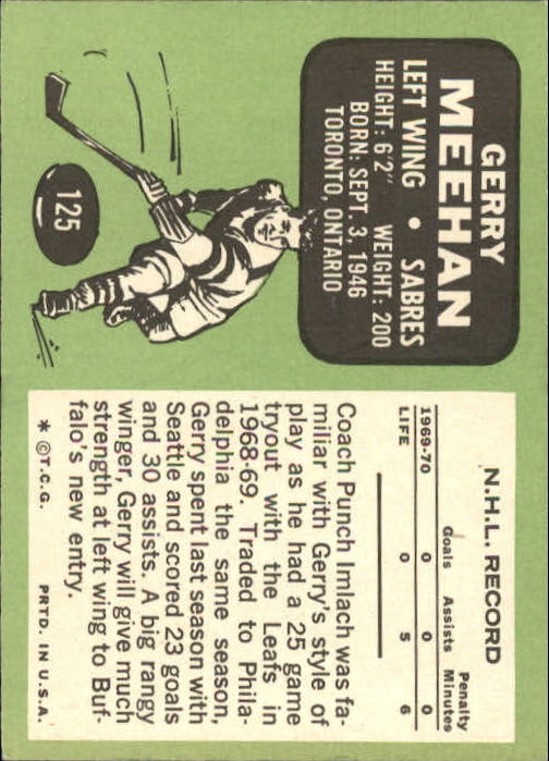1970-71 Topps #125 Gerry Meehan RC
