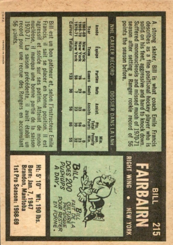 1971-72 O-Pee-Chee #215 Bill Fairbairn RC
