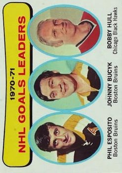 1971-72 Topps #1 Goal Leaders/Phil Esposito/Johnny Bucyk/Bobby Hull front image