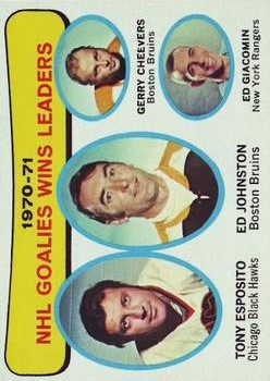 1971-72 Topps #4 Goalies Win Leaders/Tony Esposito/Ed Johnston/Gerry Cheevers/Ed Giacomin