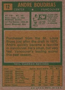 1971-72 Topps #12 Andre Boudrias back image