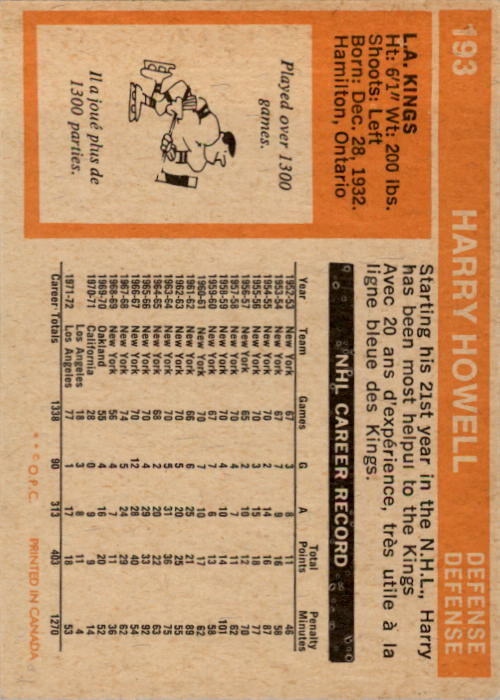 1972-73 O-Pee-Chee #193 Harry Howell