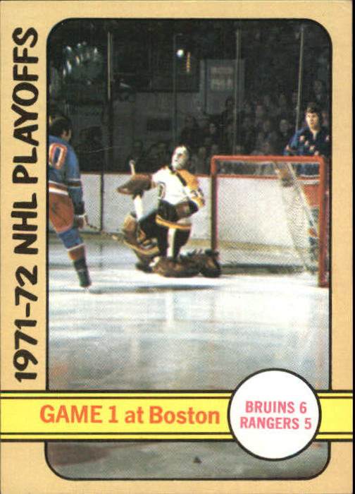 1972-73 Topps #2 Playoff Game 1/Bruins 6/Rangers 5