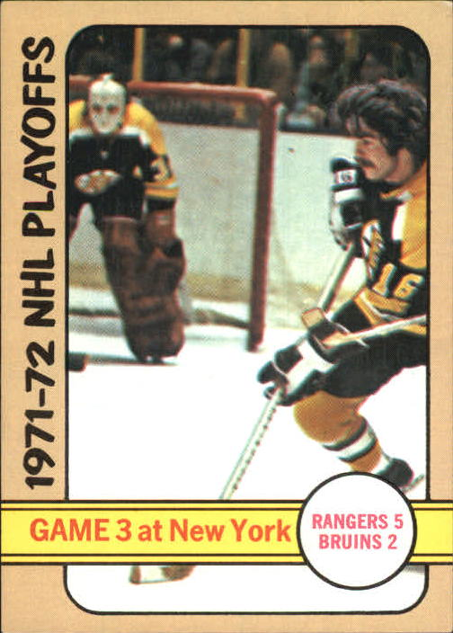 1972-73 Topps #4 Playoff Game 3/Rangers 5/Bruins 2