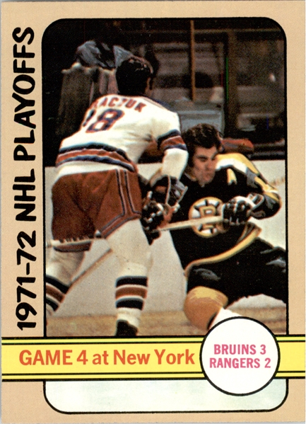 1972-73 Topps #5 Playoff Game 4 DP/Bruins 3/Rangers 2