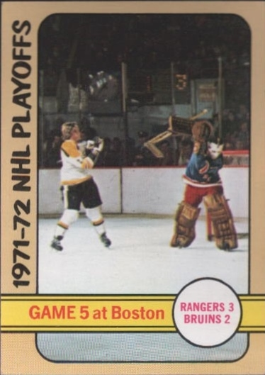 1972-73 Topps #6 Playoff Game 5 DP/Rangers 3/Bruins 2