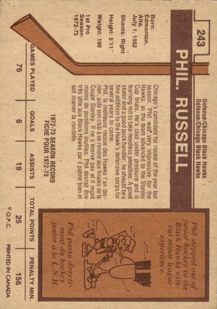 1973-74 O-Pee-Chee #243 Phil Russell RC