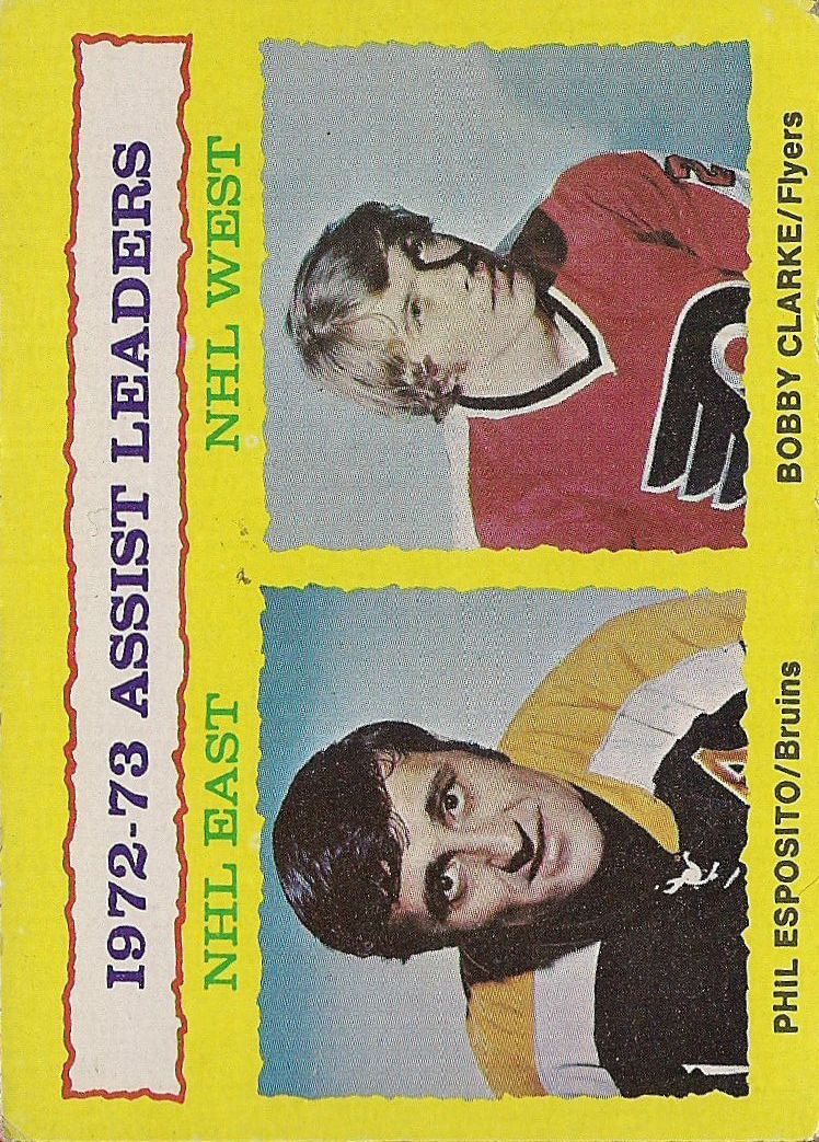 1973-74 Topps #2 Assists Leaders/Phil Esposito/Bobby Clarke