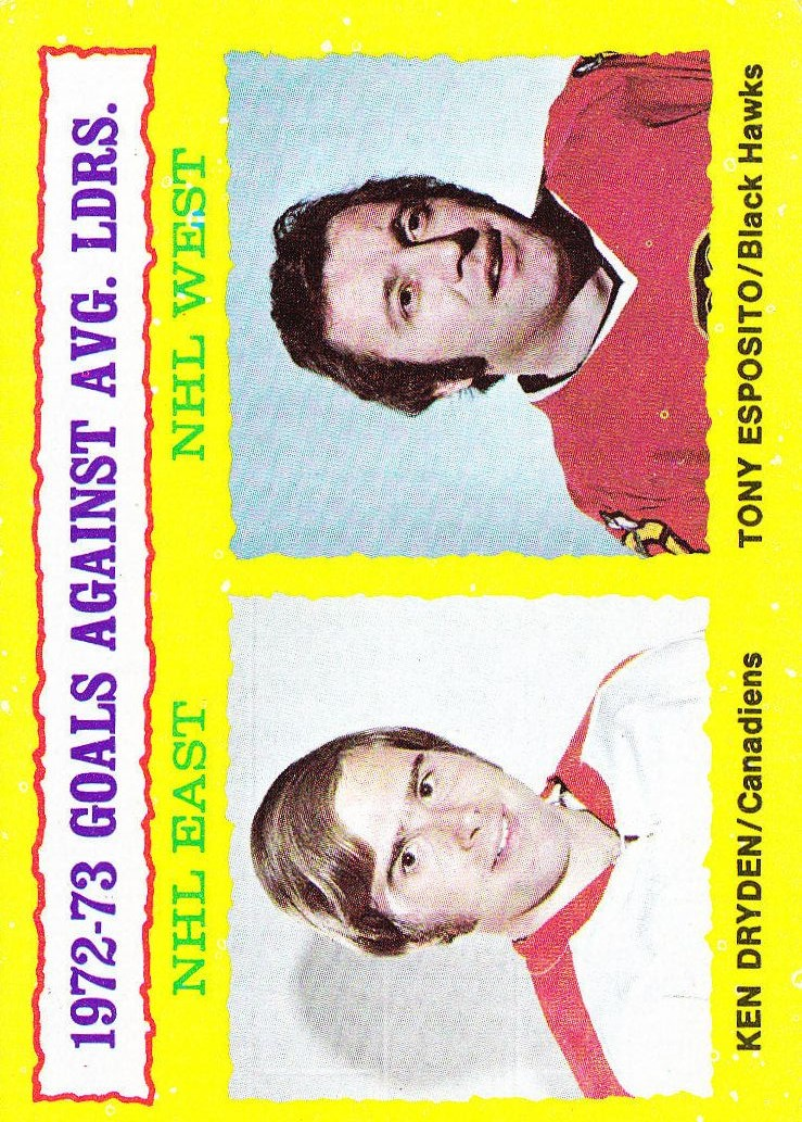 1973-74 Topps #4 Goals Against/Average Leaders/Ken Dryden/Tony Esposito