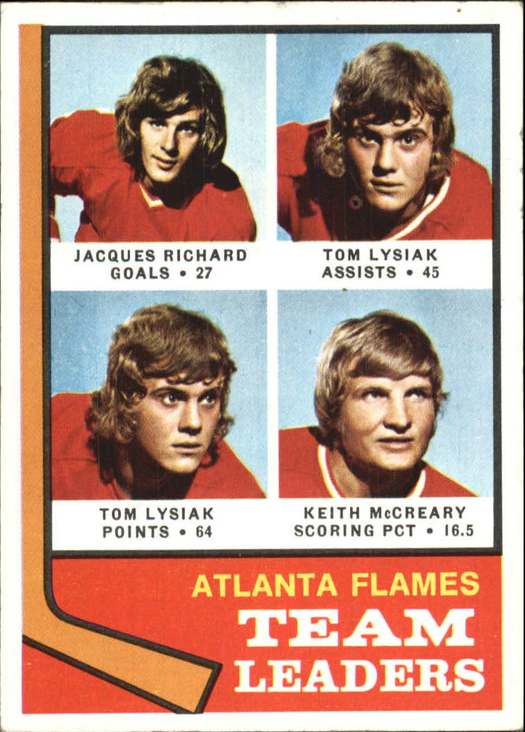 1974-75 O-Pee-Chee #14 Flames Leaders/Jacques Richard/Tom Lysiak/Tom Lysiak/Keith McCreary