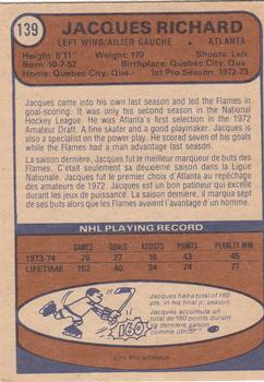 1974-75 O-Pee-Chee #139 Jacques Richard