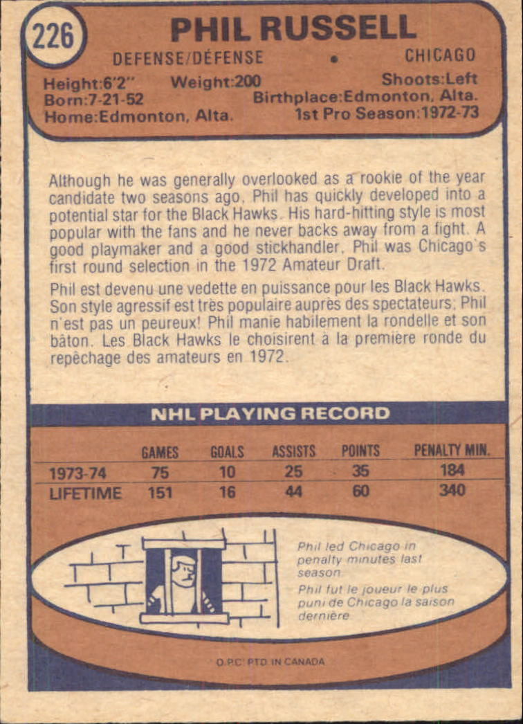 1974-75 O-Pee-Chee #226 Phil Russell