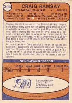 1974-75 O-Pee-Chee #305 Craig Ramsay UER/(Name on front is Graig)