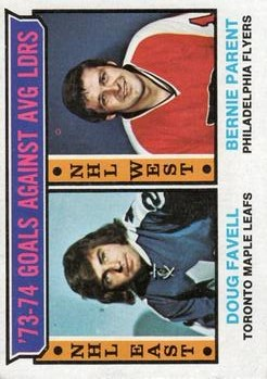 1974-75 Topps #4 Goals Against Average/Leaders/Doug Favell/Bernie Parent
