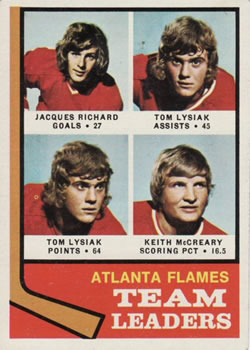 1974-75 Topps #14 Flames Leaders/Jacques Richard/Tom Lysiak/Keith McCreary