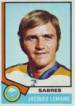 1974-75 Topps #24 Jacques Lemaire UER/Shown in Sabres sweater