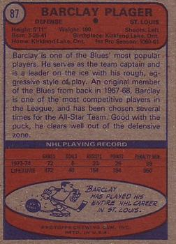 1974-75 Topps #87 Barclay Plager