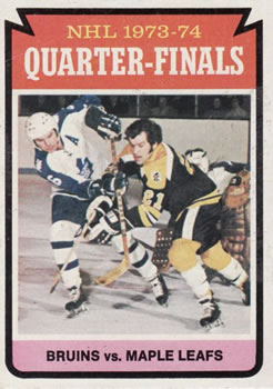 1974-75 Topps #211 Quarter Finals/Bruins sweep/Maple Leafs