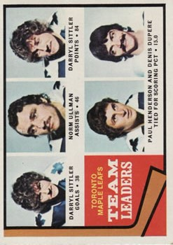 1974-75 Topps #219 Maple Leaf Leaders/Darryl Sittler/Norm Ullman/Paul Henderson/Denis Dupere