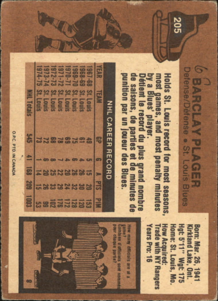 1975-76 O-Pee-Chee #205 Barclay Plager