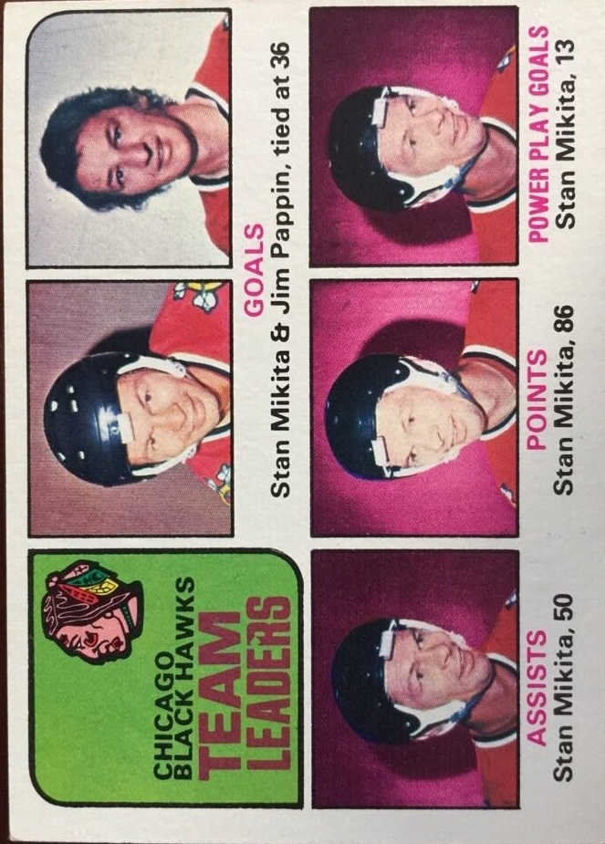 1975-76 O-Pee-Chee #317 Blackhawks Leaders/Stan Mikita/Jim Pappin
