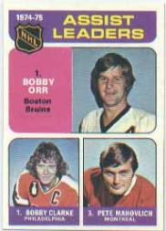1975-76 Topps #209 Assists Leaders/Bobby Clarke/Bobby Orr/Pete Mahovlich