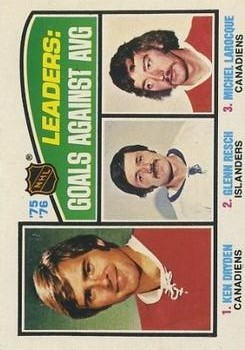 1976-77 O-Pee-Chee #6 Goals Against/Average Leaders/Ken Dryden/Glenn Resch/Michel Larocque