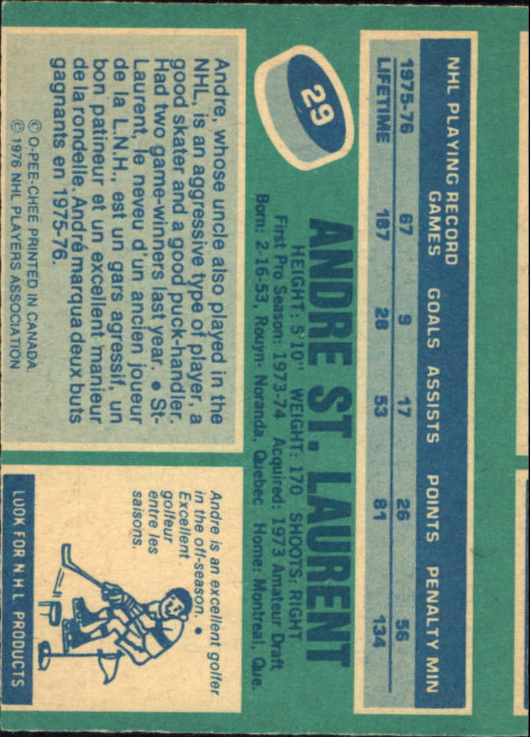 1976-77 O-Pee-Chee #29 Andre St.Laurent