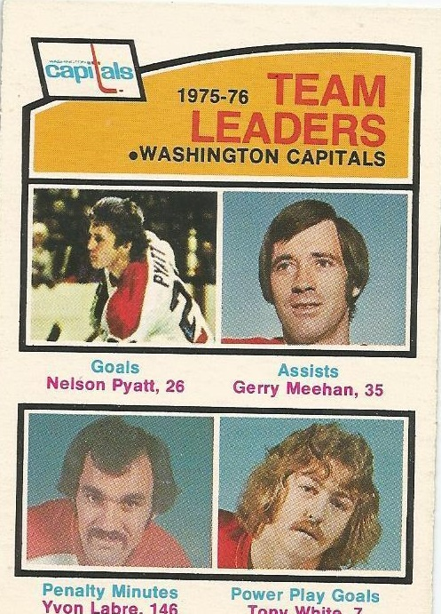 1976-77 O-Pee-Chee #396 Capitals Leaders/Nelson Pyatt/Gerry Meehan/Yvon Labre/Tony White