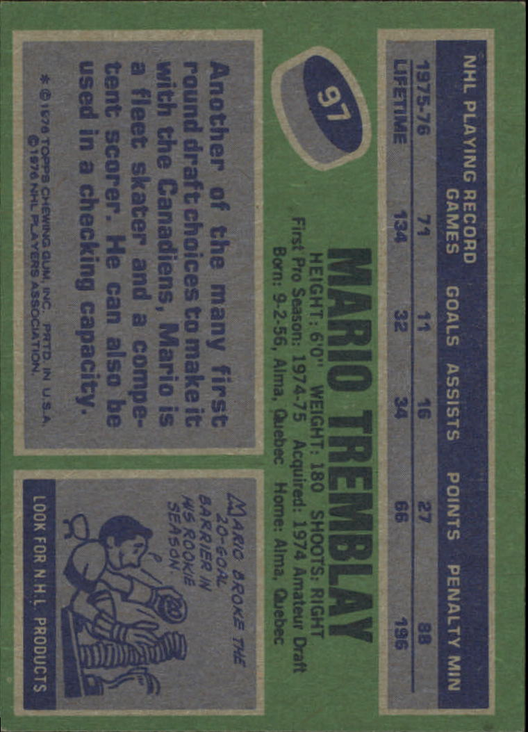 1976-77 Topps #97 Mario Tremblay back image