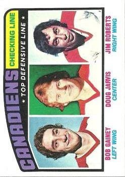 1976-77 Topps #217 Checking Line/Bob Gainey/Doug Jarvis/Jim Roberts front image