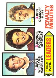 1977-78 O-Pee-Chee #4 Penalty Min. Leaders/Tiger Williams/Dennis Polonich/Bob Gassoff