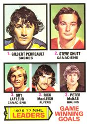 1977-78 O-Pee-Chee #7 Game Winning/Goals Leaders/Gilbert Perreault/Steve Shutt/Guy Lafleur/Rick MacLeish/Peter McNab