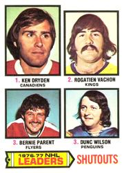1977-78 O-Pee-Chee #8 Shutouts Leaders/Ken Dryden/Rogatien Vachon/Bernie Parent/Dunc Wilson