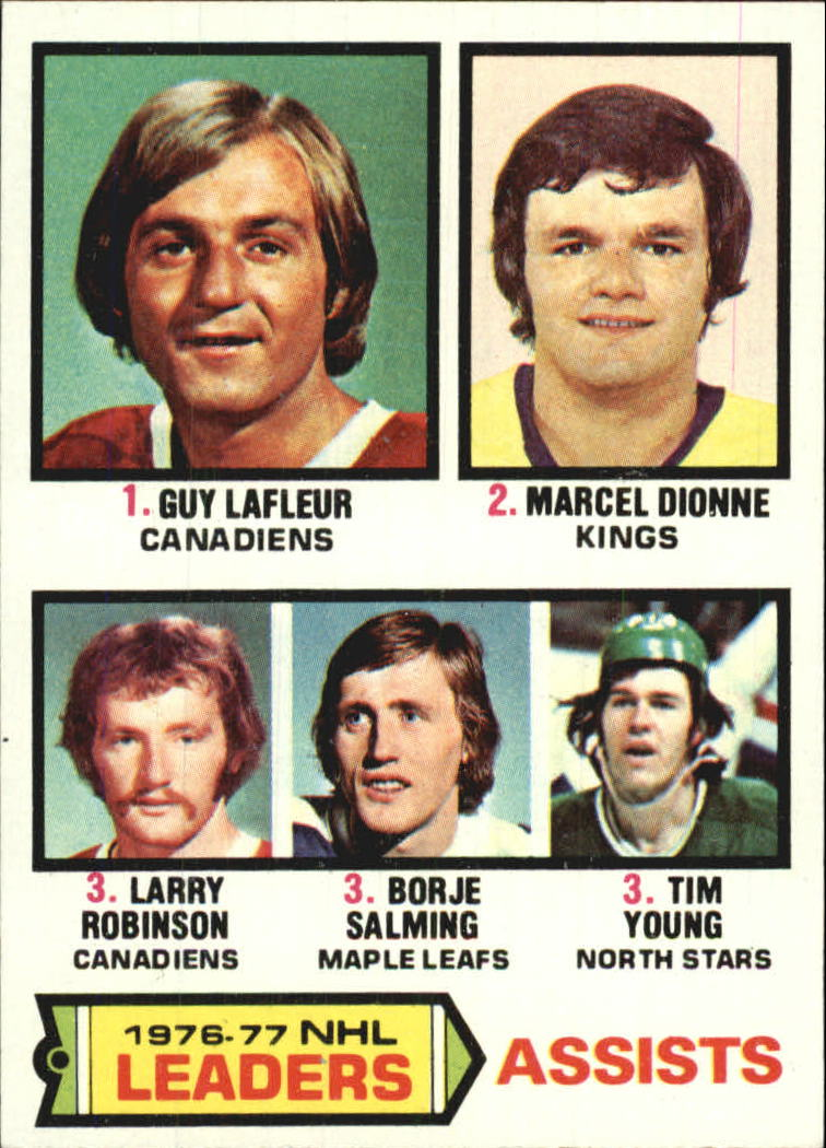 1977-78 Topps #2 Assists Leaders/Guy Lafleur/Marcel Dionne/Larry Robinson/Borje Salming/Tim Young