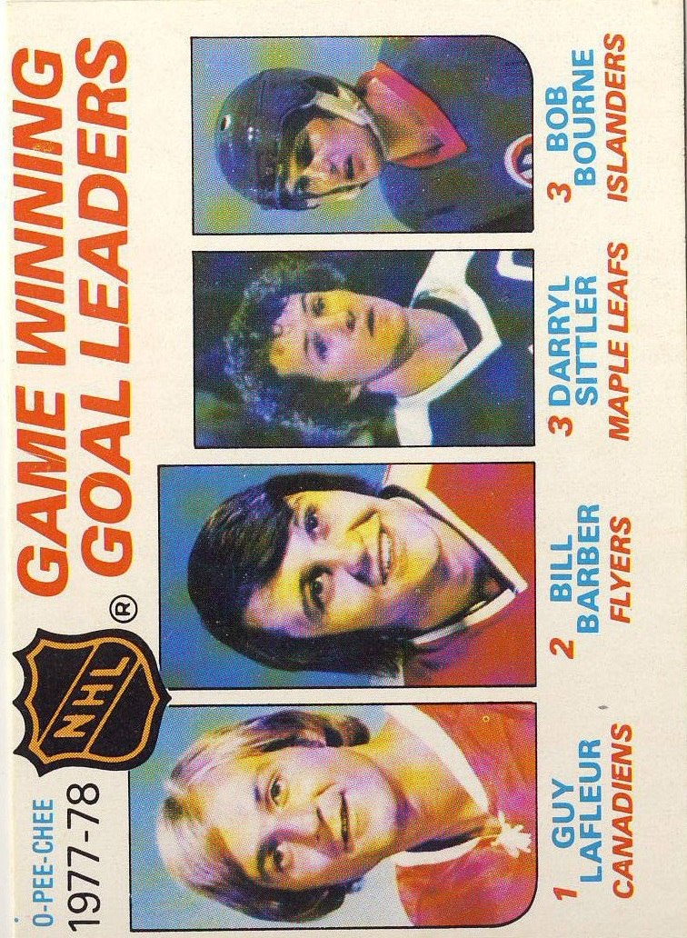 1978-79 O-Pee-Chee #69 Game Winning/Goal Leaders/Guy Lafleur/Bill Barber/Darryl Sittler/Bob Bourne