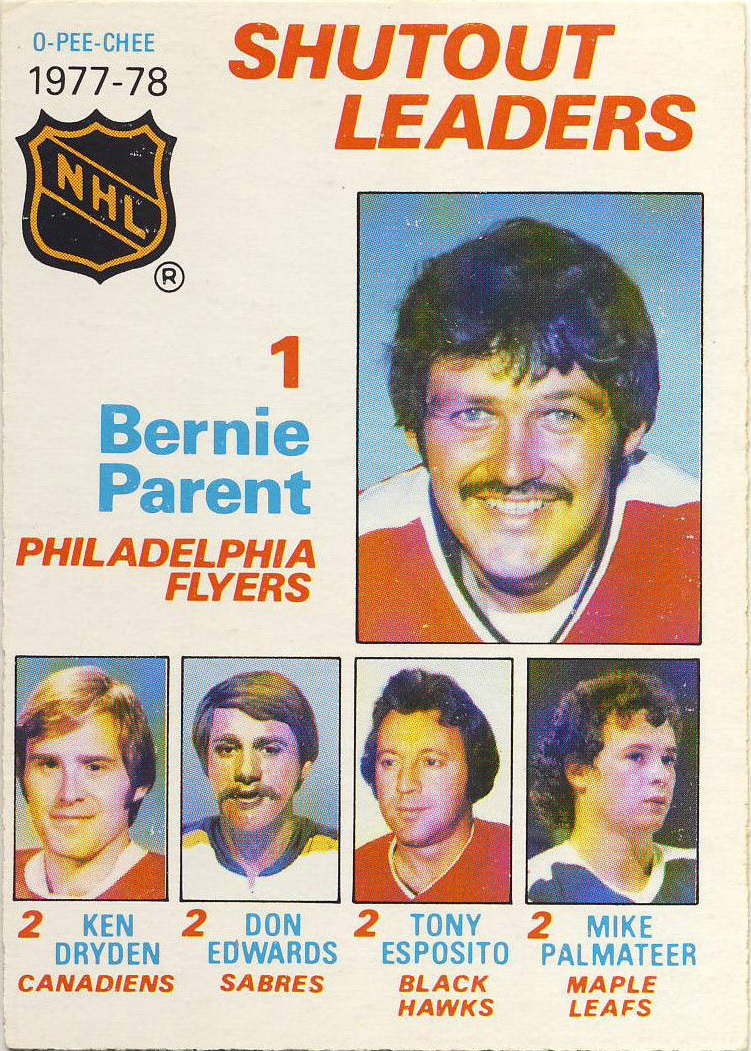 1978-79 O-Pee-Chee #70 Shutout Leaders/Bernie Parent/Ken Dryden/Don Edwards/Tony Esposito/Mike Palmateer