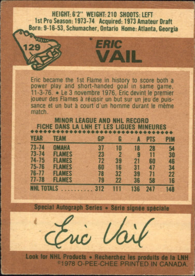 1978-79 O-Pee-Chee #129 Eric Vail back image