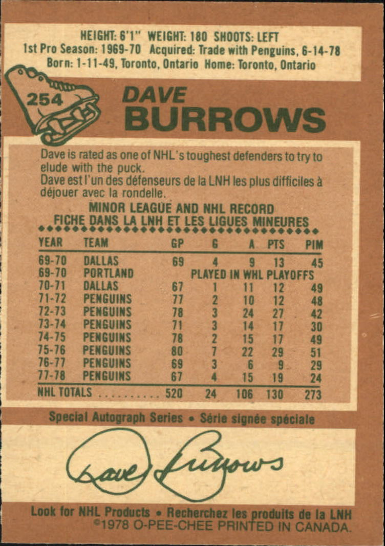 1978-79 O-Pee-Chee #254 Dave Burrows