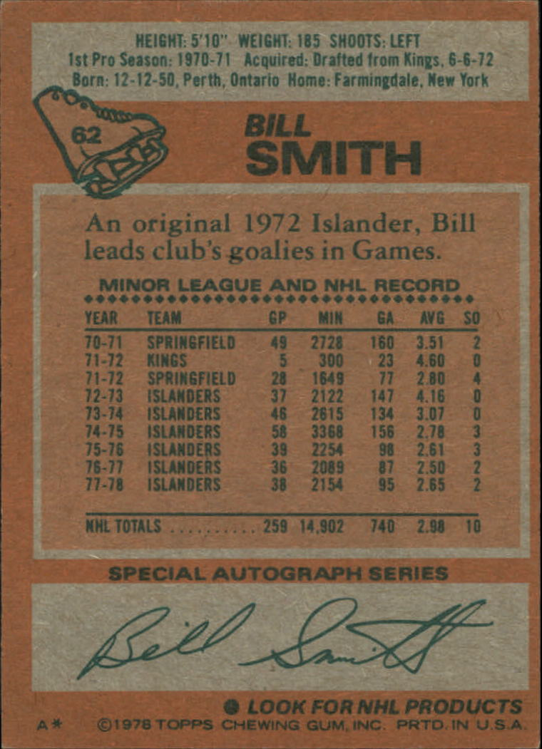 1978-79 Topps #62 Billy Smith