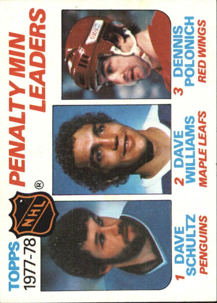 1978-79 Topps #66 Penalty Minutes/Leaders/Dave Schultz/Tiger Williams/Dennis Polonich front image