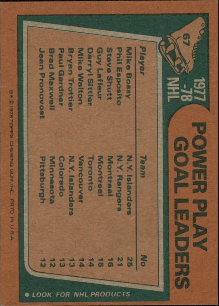 1978-79 Topps #67 Power Play Goal/Leaders/Mike Bossy/Phil Esposito/Steve Shutt back image